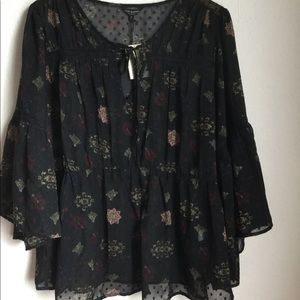 Lucky Brand Tops - Lucky Brand Floral Sheer Tunic Plus Size 2X